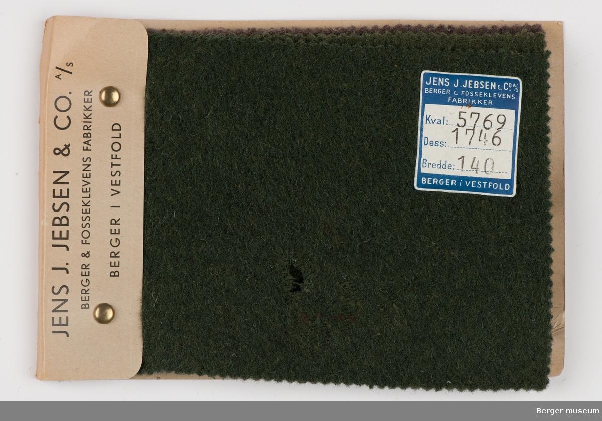 Prøvehefte med 4 prøver Vadmel, bekledning Kvalitet 5769 Stykkfarget