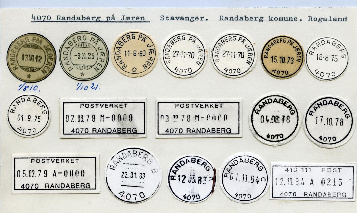 Stempelkatalog Randaberg på Jæren (Randaberg paa Jæderen), Stravanger, Randaberg, Rogaland