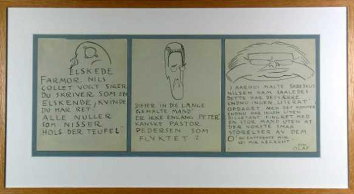 Tre tegninger: skikkelse som tegner, to portrett.