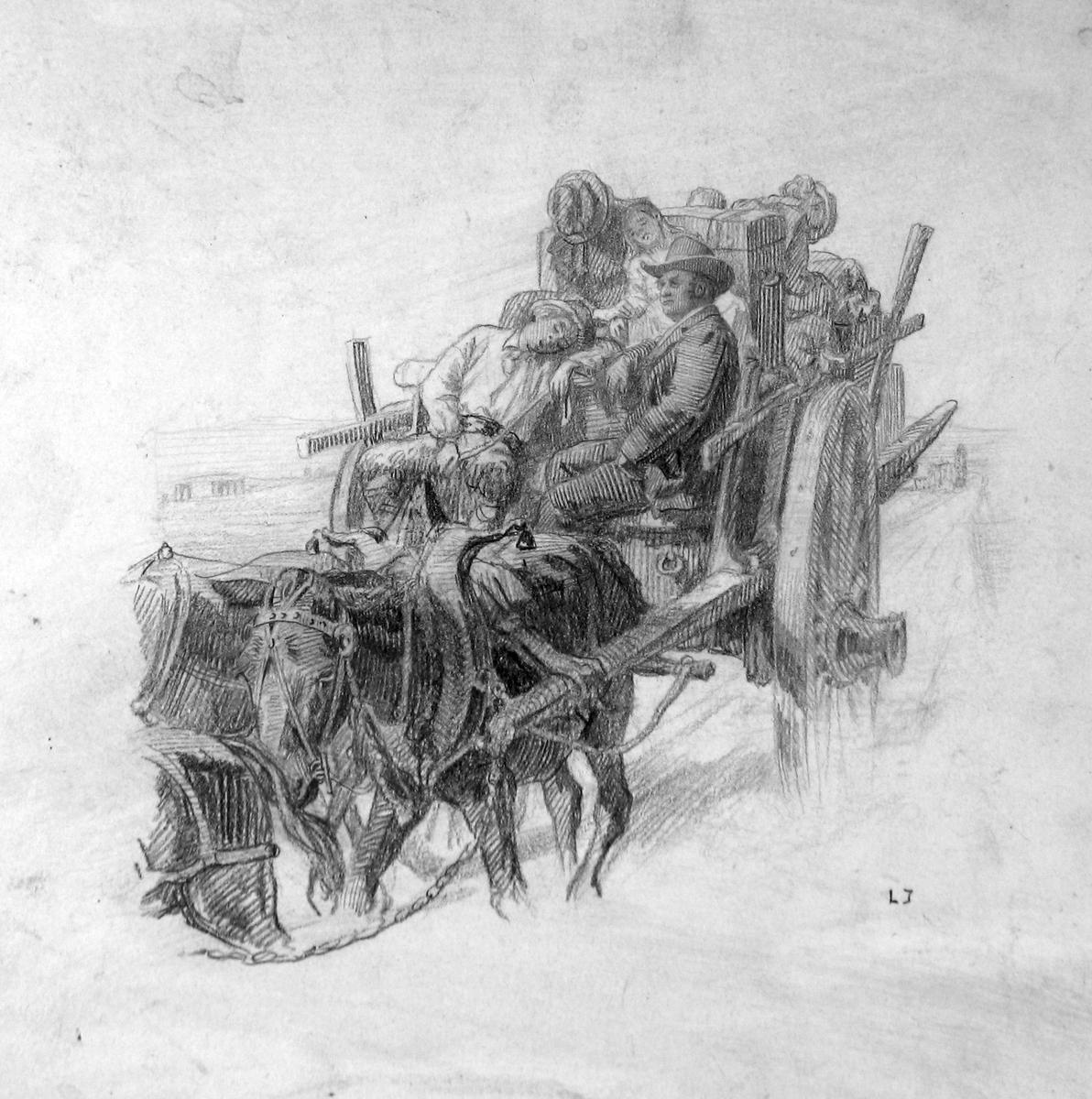 Tegning, Bjørnson, flytting, Campagna, Italia,