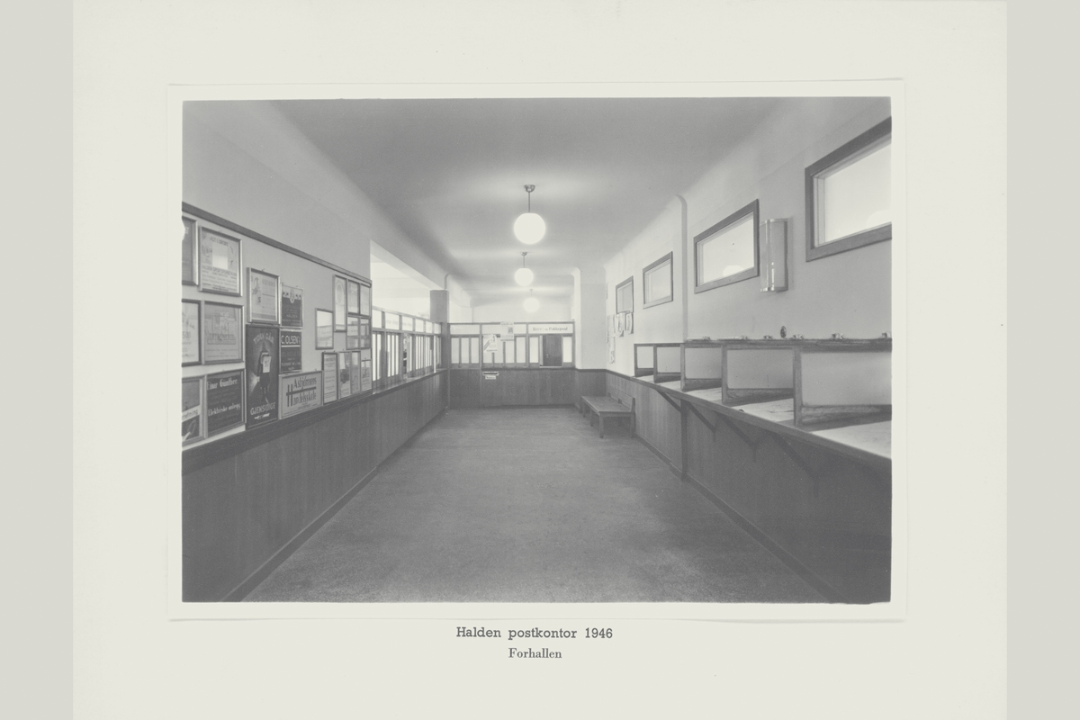 interiør, postkontor, 1750 Halden, publikumshallen