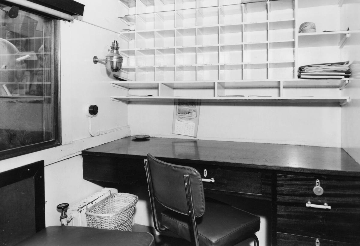 transport båt, interiør, M/S Midthordland, postlugar