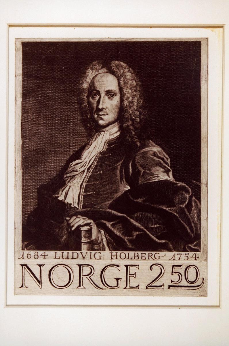 Postmuseet, frimerker, tegning, utkast, NK 958, 5. oktober 1984, 2,50 kr, s/hv, Ludvig Holberg 300 år (1684-1754), portrett, ramme rundt, kunstner: Knut Løkke-Sørensen.