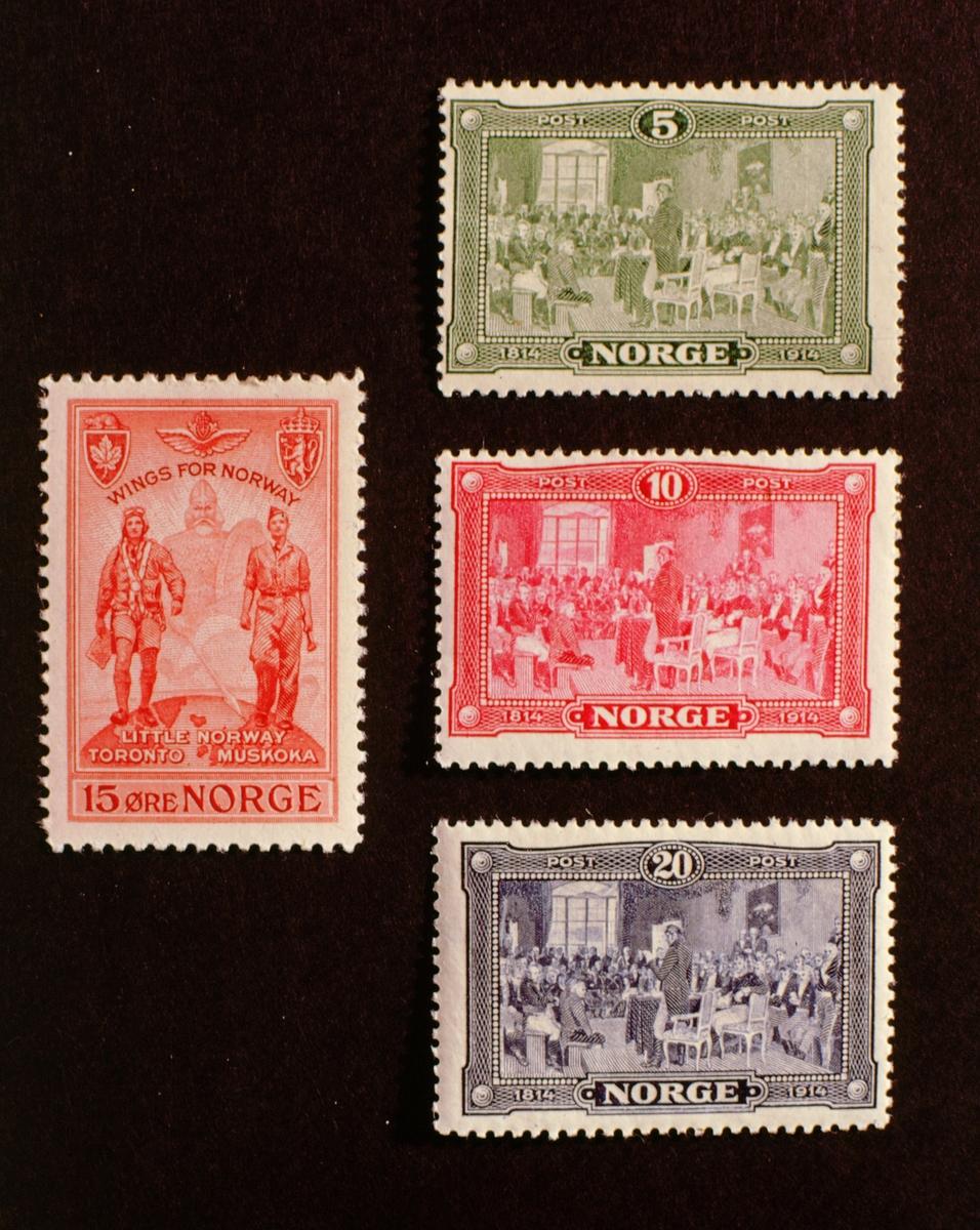 postmuseet, Kirkegata 20, frimerker, NK 114, NK 115, NK 116, grunnlovs-jubileum, 10. mai 1914, NK 349, wings for Norway, 28. mars 1946