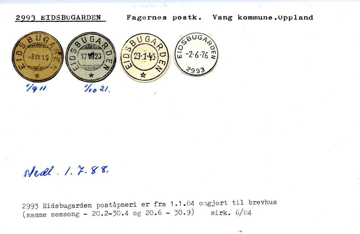 Stempelkatalog, 2993 Eidsbugarden, Fagernes postk., Vang kommune, Oppland