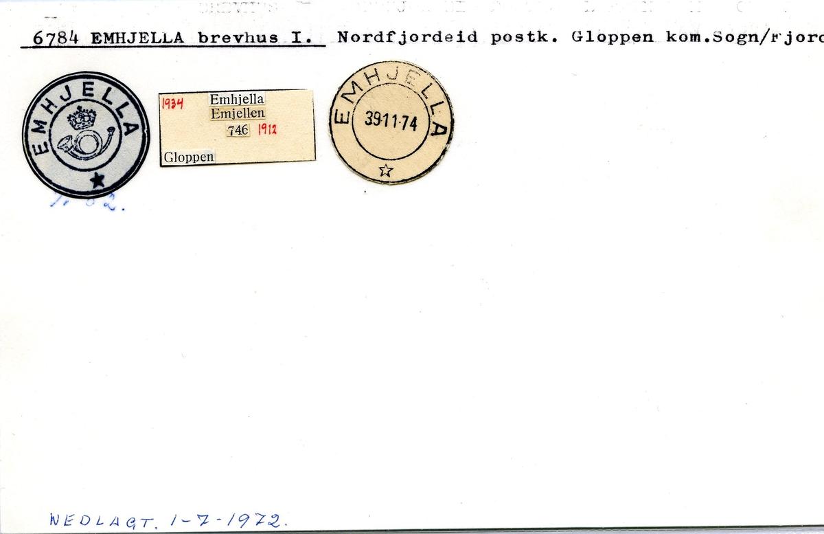 Stempelkatalog, 6784 Emhjella, Nordfjordeid, Gloppen, Sogn og Fjordane