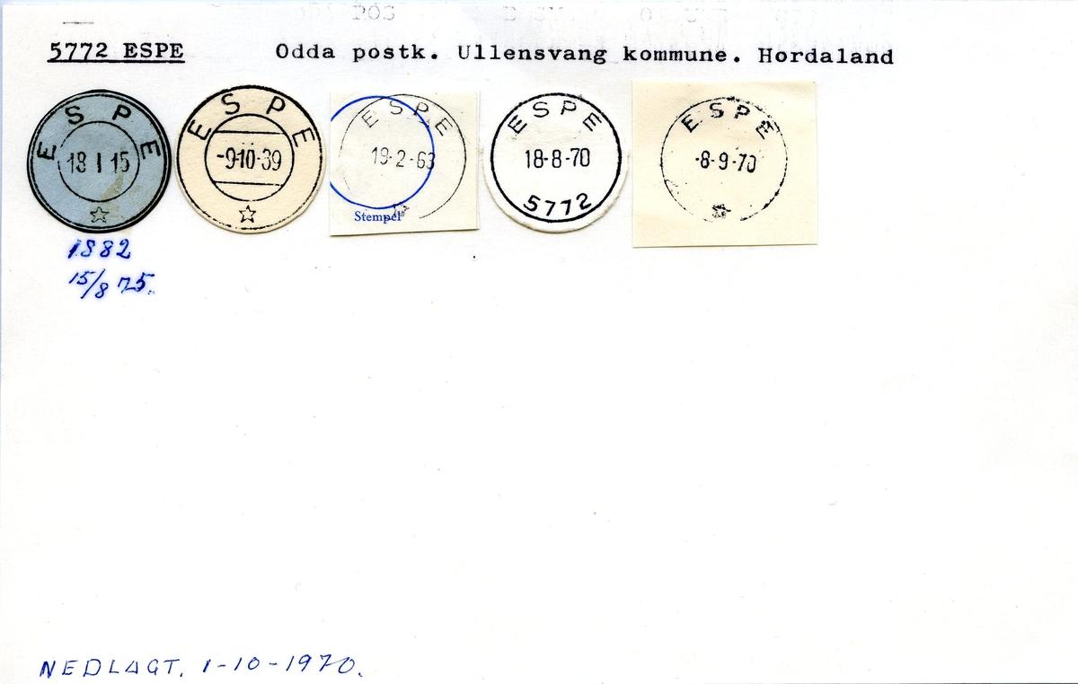 Stempelkatalog. 5772 Espe. Odda postkontor. Ullensvang kommune. Hordaland fylke.