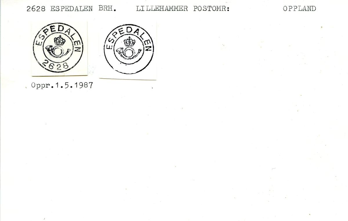 Stempelkatalog, 2628 Espedal (Espedalen), Lillehammer, Gausdal, Oppland