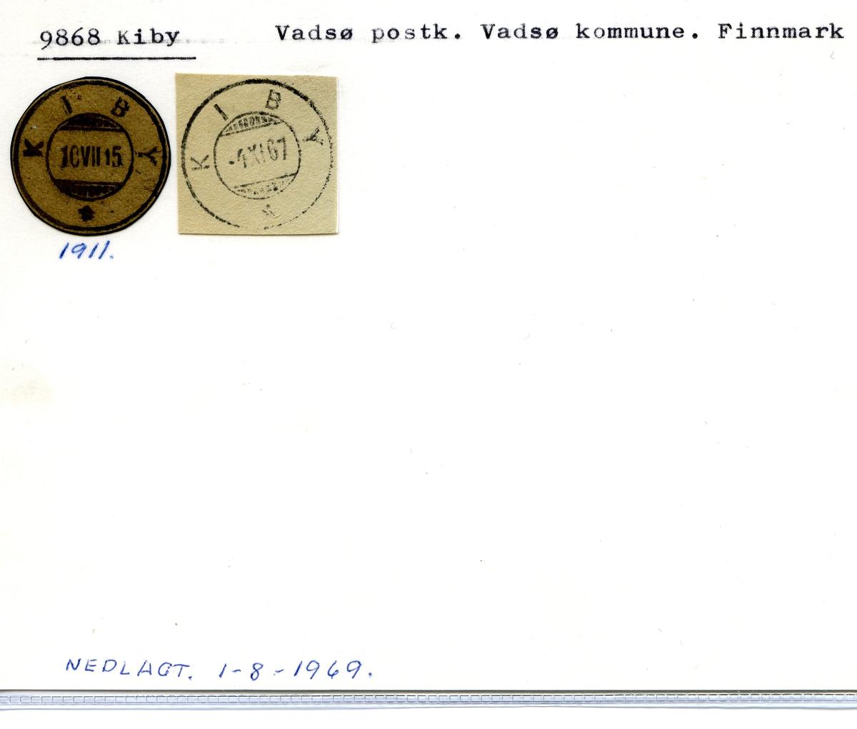 Stempelkatalog 9868 Kiby, Vadsø postk., Vadsø kommune, Finnmark