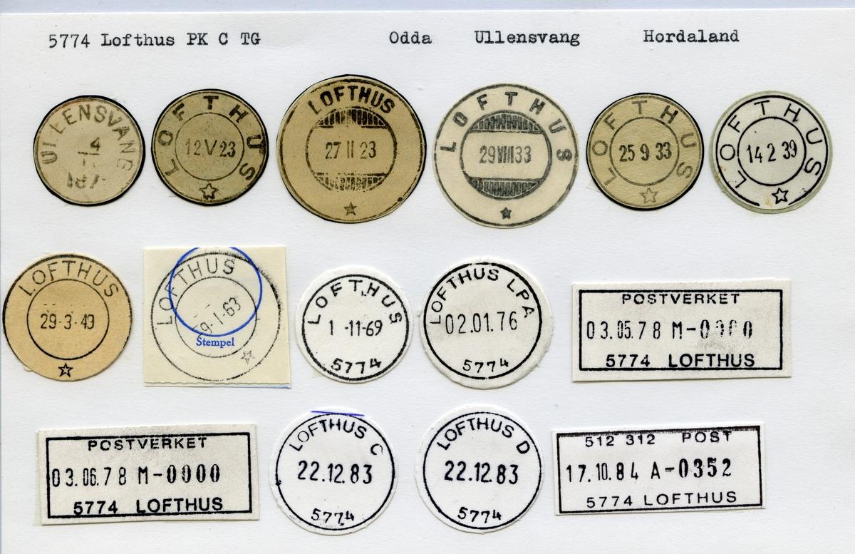 Stempelkatalog, 5774 Lofthus, Odda, Ullensvang kommune, Hordaland