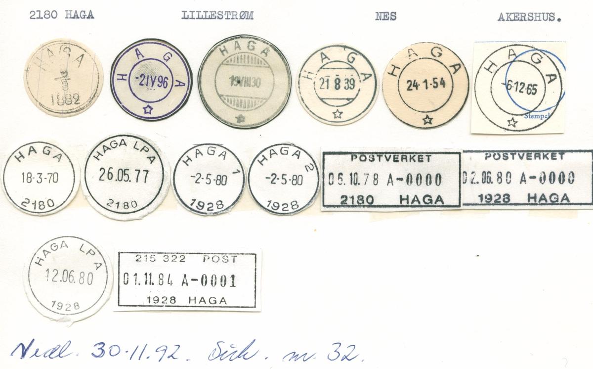 Stempelkatalog. 2180Haga. Lillestrøm postkontor. Nes kommune. Akershus fylke.