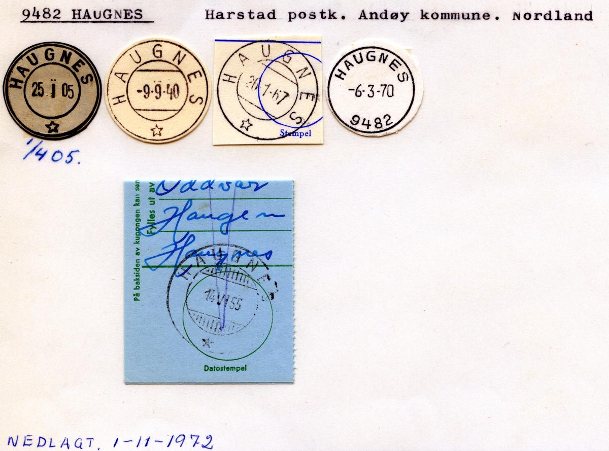 Stempelkatalog, 9482 Haugnes, Harstad postk., Andøy kommune, Nordland . (Mangler bilde)