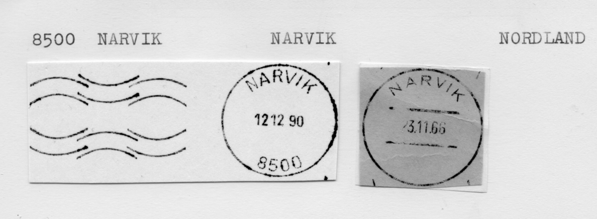Stempelkatalog 8500 Narvik, Narvik kommune, Nordland (Viktoriahavn, Ofotbanens posteksp.)