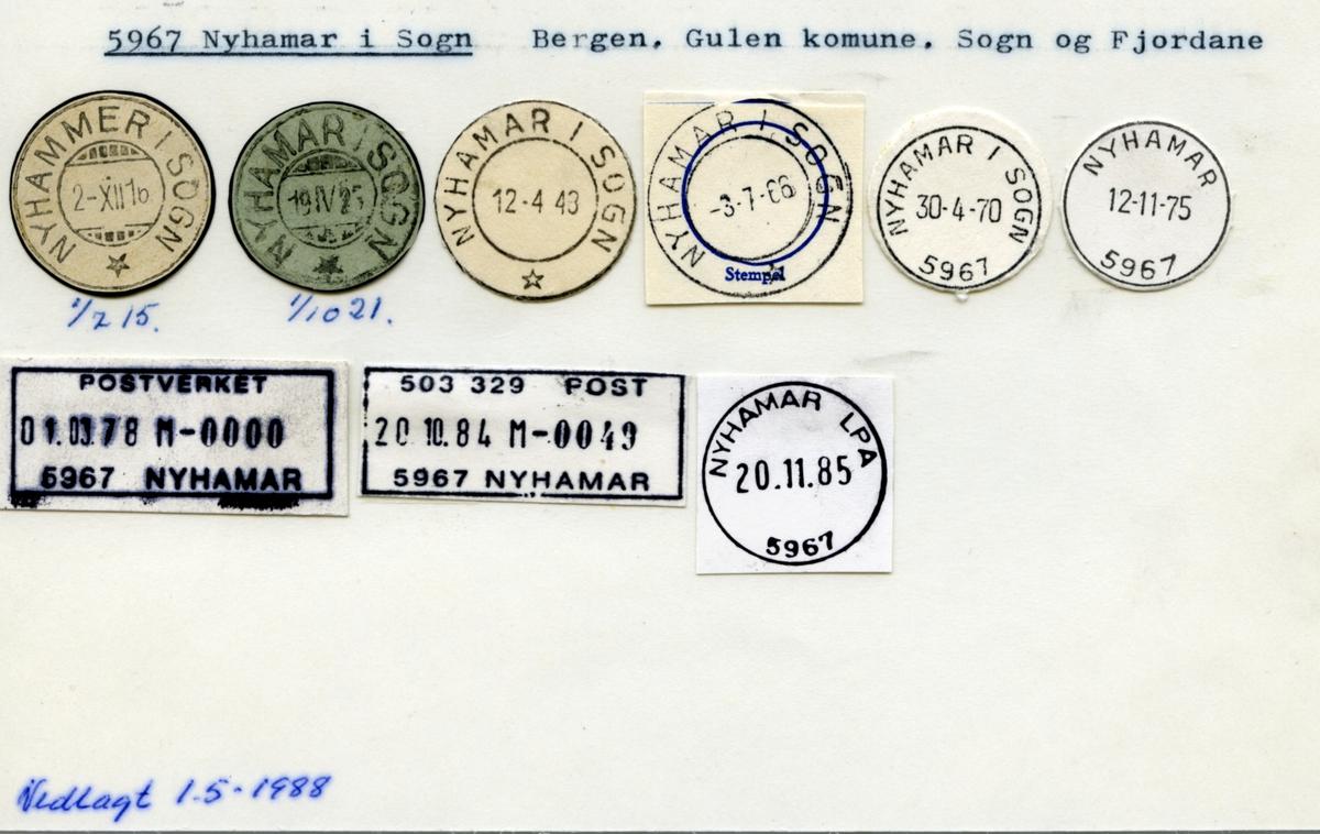 Stempelkatalog. 5967 Nyhamar i Sogn. Bergen postkontor. Gulen kommune. Sogn og Fjordane fylke.