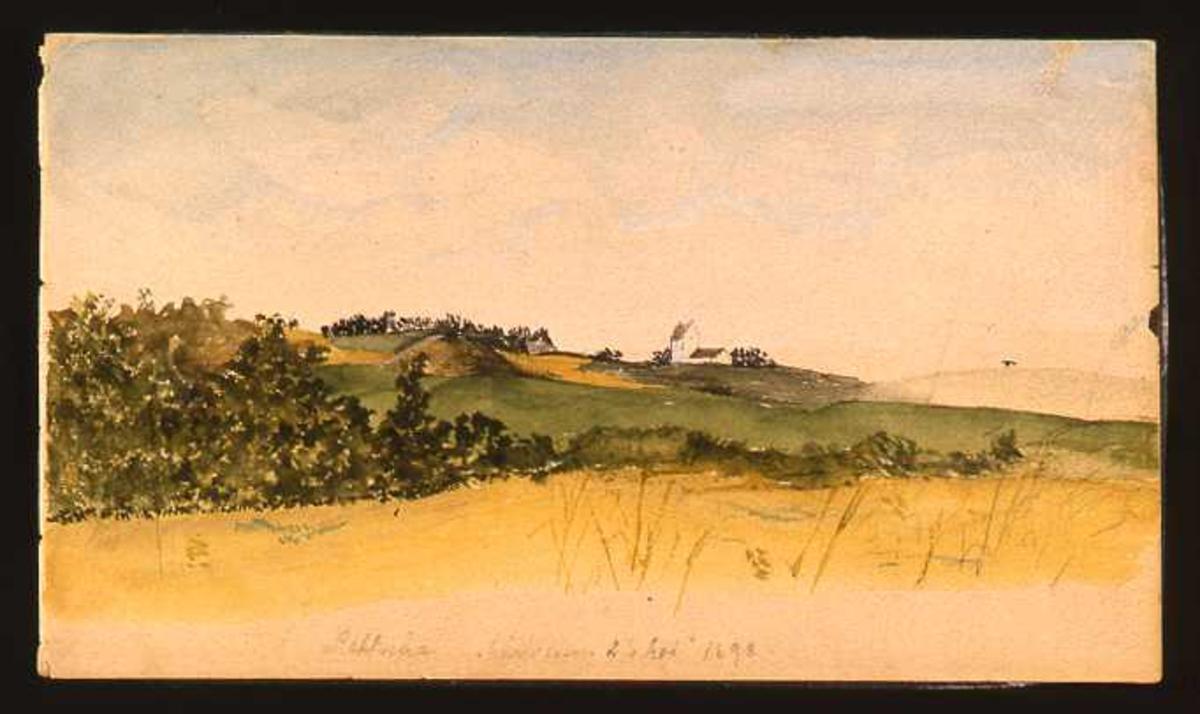 Landskap, kirke, akvarell
