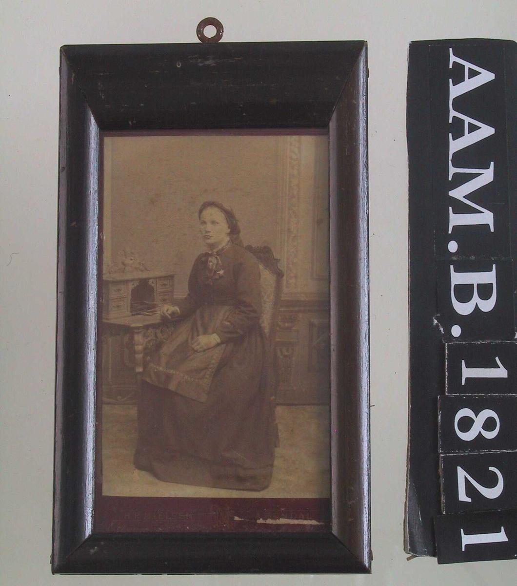 Portrett av ung kvinne, Turid Homdrom, Gjøvdal, død 1936.. Sittende ved skrivebord.   Mørk kjole, forkle med mønstret bånd.  Mønstret sløyfe i halsen. Hodetørkle.  Bak interiør i nyrenessanse.