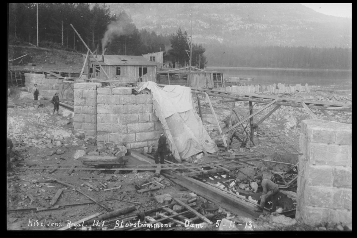 Arendal Fossekompani i begynnelsen av 1900-tallet CD merket 0468, Bilde: 84 Sted: Storstraumen dam, Nidelva Beskrivelse: Regulering