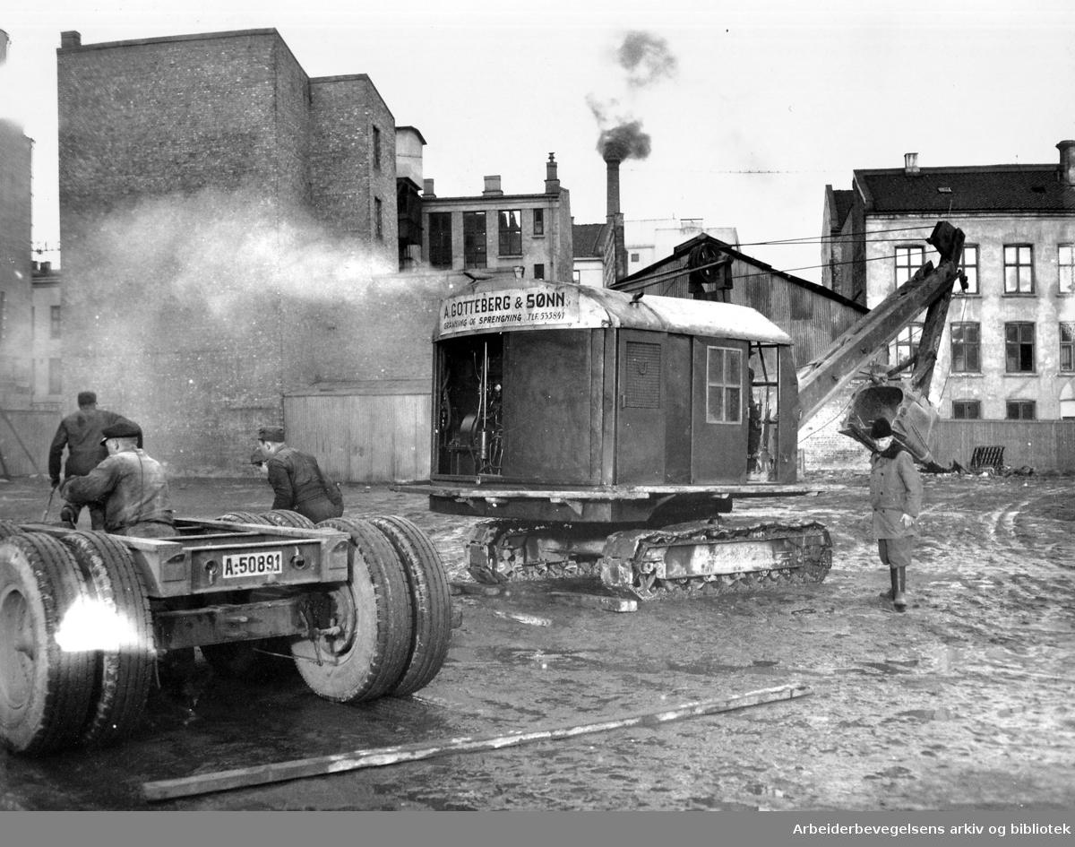 Hotell Viking under bygging,.mai 1949