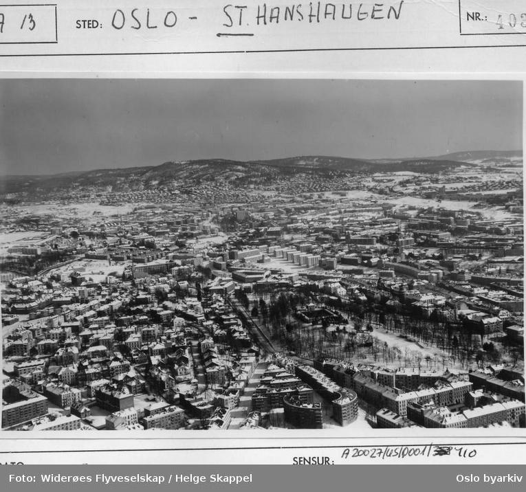 Oversikt over parken, Bolteløkka, Ila og Lovisenberg. Grefsenkollen i bakgrunnen. (Flyfoto)