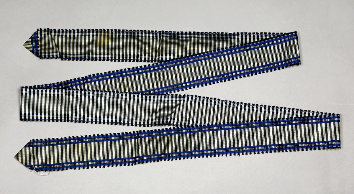 Bånd av silke i rutevevd mønster