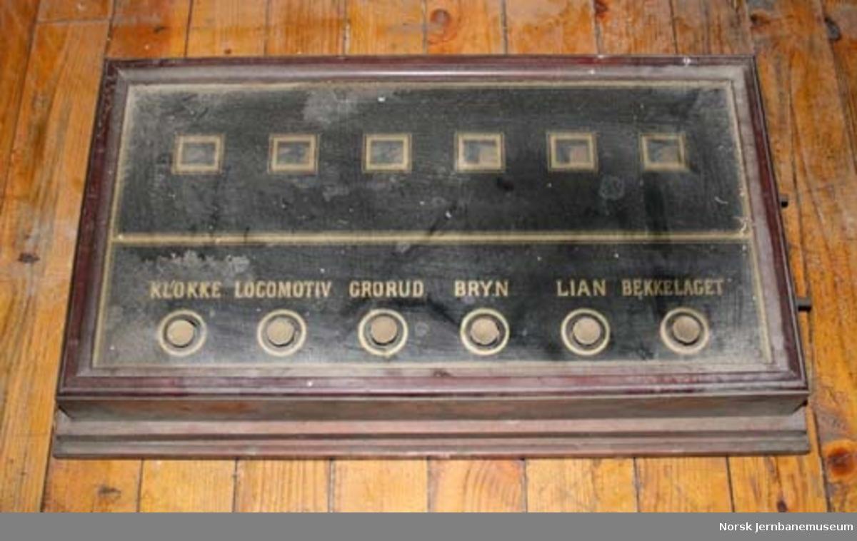 Tablå for togmeldinger : for togmeldinger fra Hovedbanens telegrafkontor til togmesteren