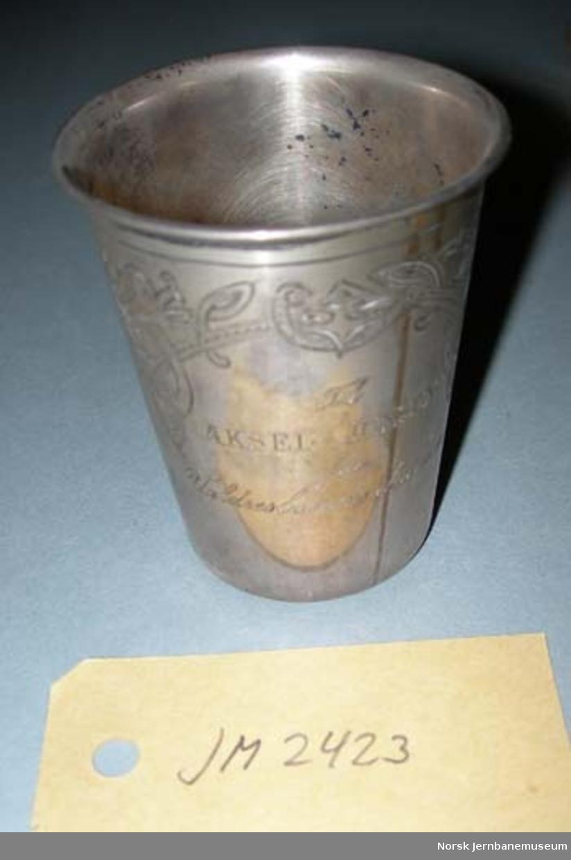 Pokal - til Aksel Jensen fra Valdresbanens direksjon 1905