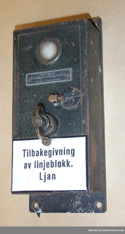 Signalutstyr : apparat for tilbakegivning av linjeblokk til Ljan - For signalgivning