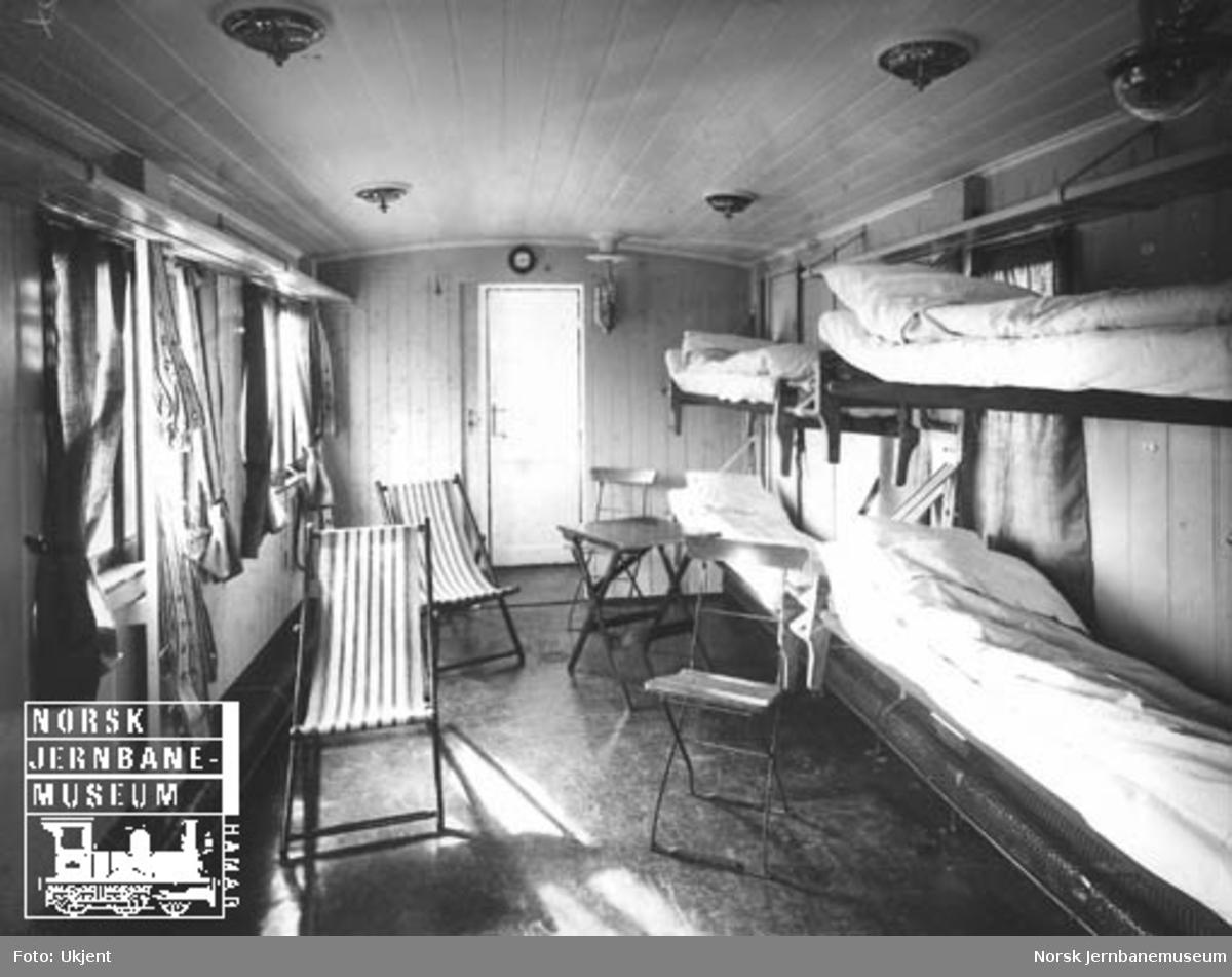 Interiørbilde fra sanitetsvogn litra Zuo nr. 314