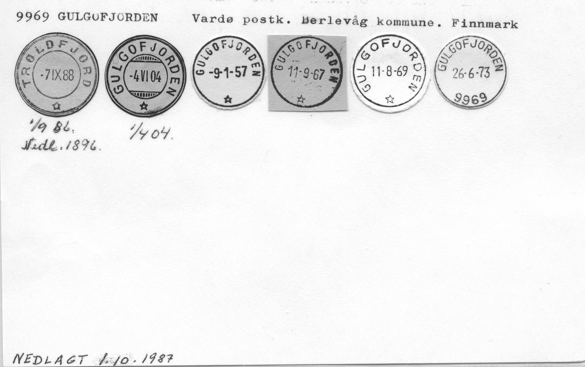 Stempelkatalog 9969 Gulgofjorden (Troldfjorden), Vardø, Berlevåg, Finnmark