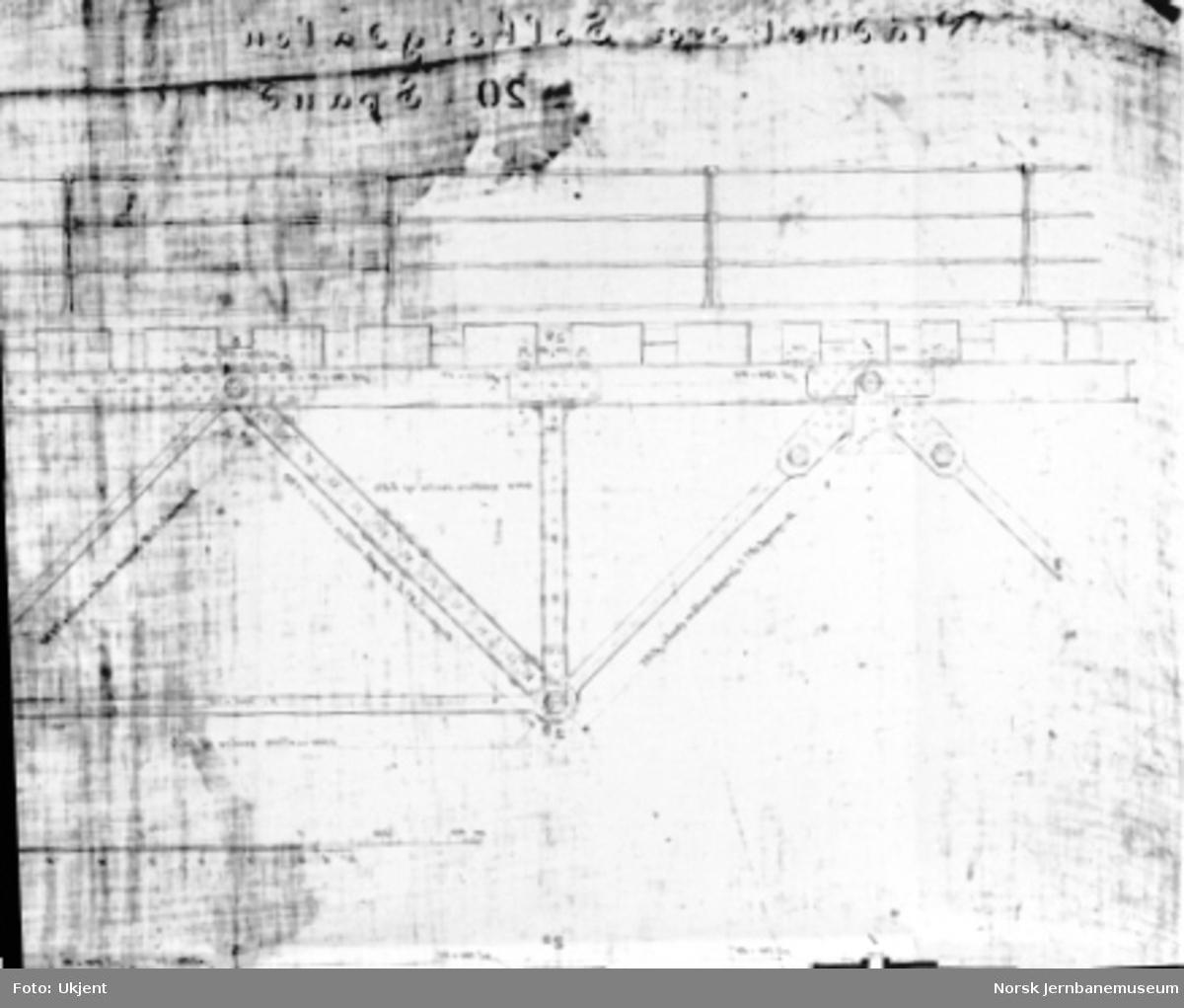 Tegning av Solberg viadukt, detaljer