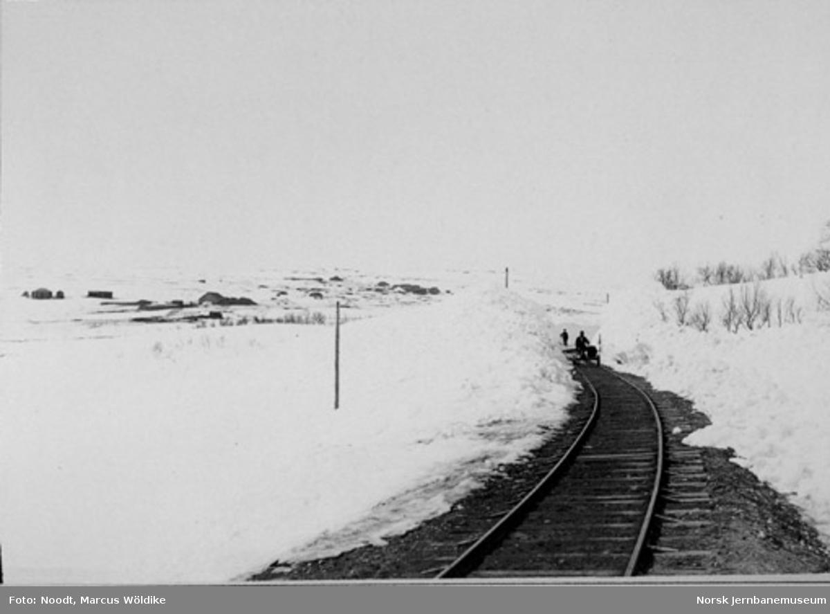Arvedalslinjen (Kongens Grubes bane) ved andre skjæring nedenfor Arva bro, sett i retning mot Arva bro