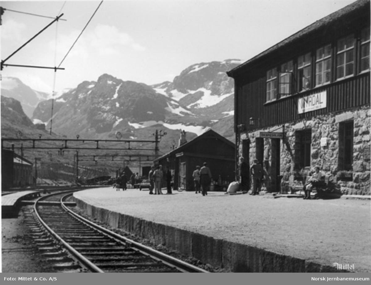 Myrdal stasjon : reisende på plattformen