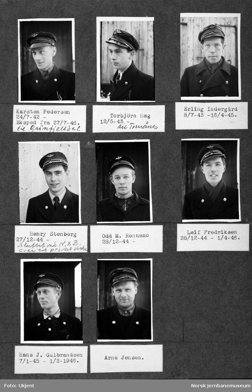 Personalbilder fra Mo i Rana stasjon : telegrafistene Pedersen, Hæg, Indergård, Stenberg, Rennemo, Fredriksen, Gulbrandsen og Jensen