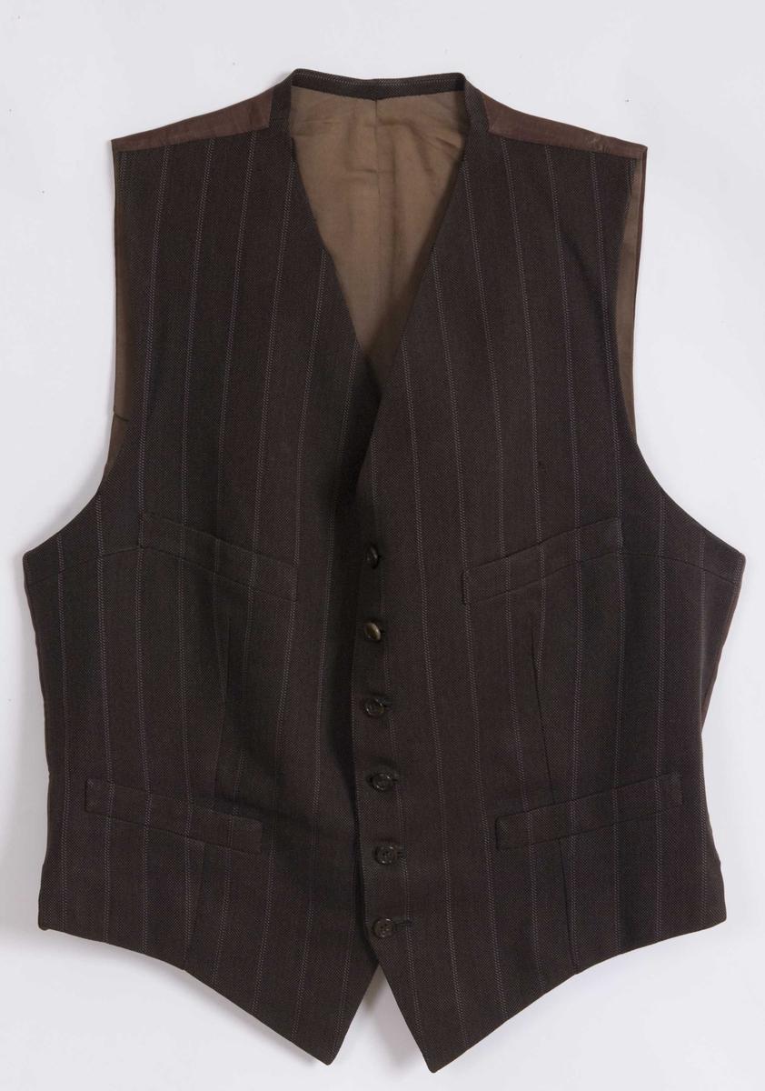 Brun dressvest. Del av dress med jakke, vest og bukse