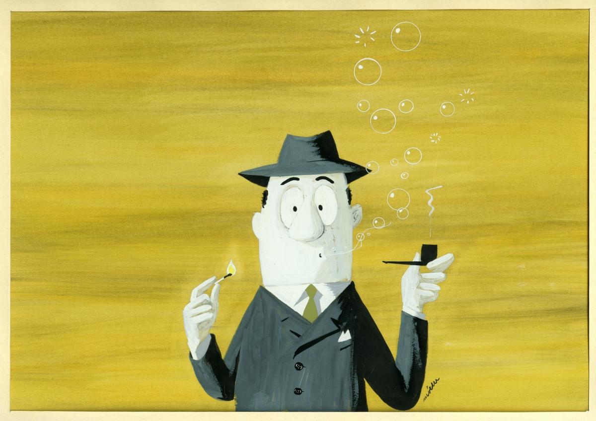 Akvarell av mann som røker pipe. Humoristisk.