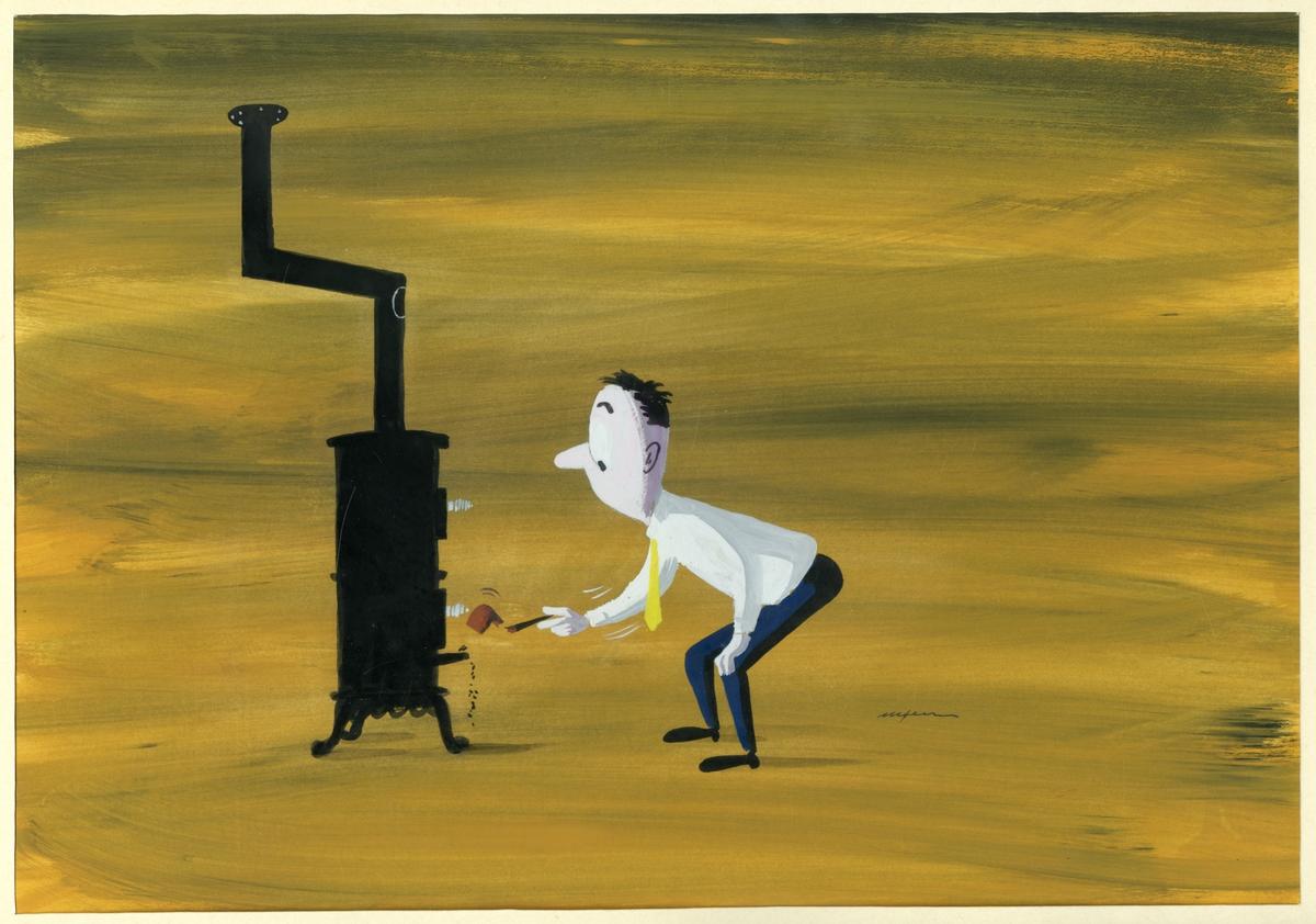 Akvarell av mann og vedovn. Humoristisk.