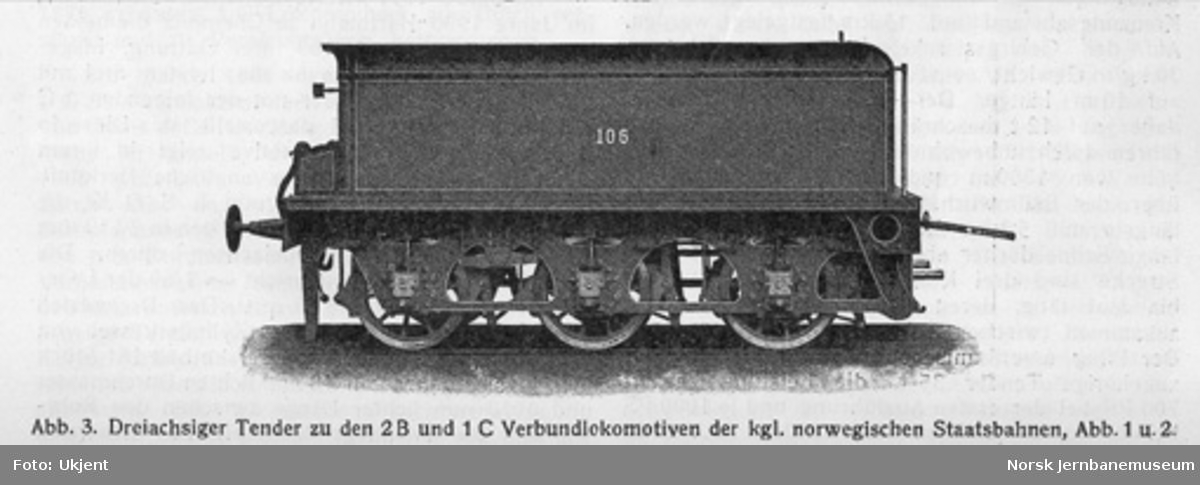 Leveransefoto av damplokomotiv type 15a nr. 106 for Østfoldbanen fra Sächsische Maschinenfabrik; tenderen